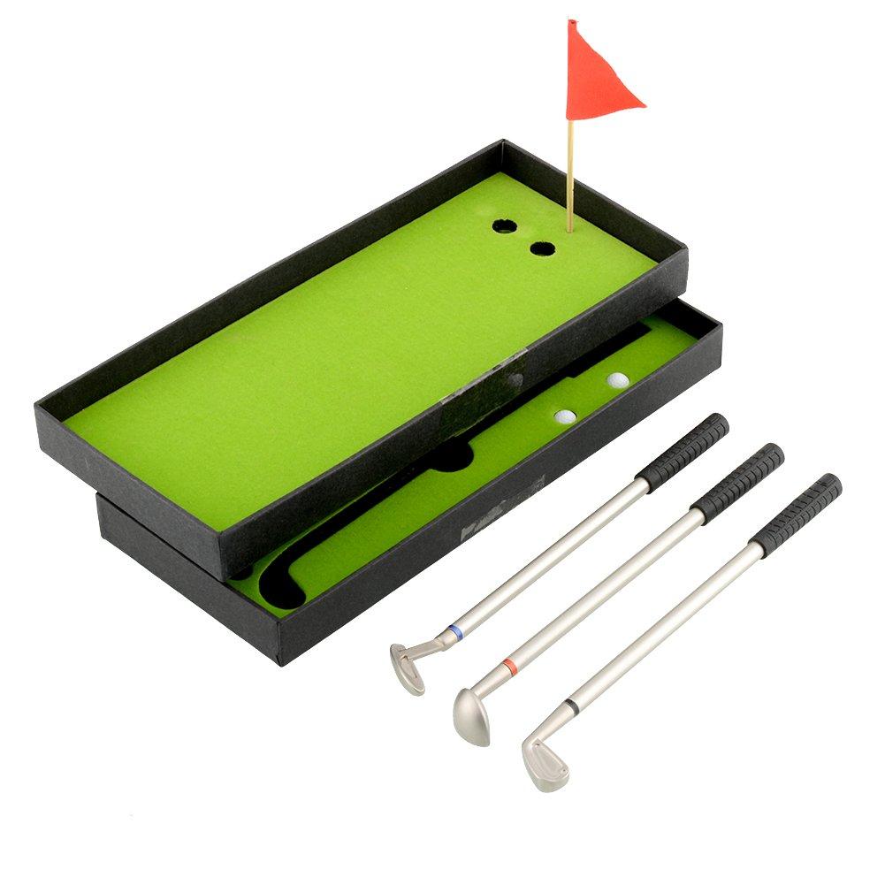 Forfar Models Ball Pen Mini Golf Clubs Golf Balls Flag Set Gift Three Colors for Toys present decoration 3 PCS