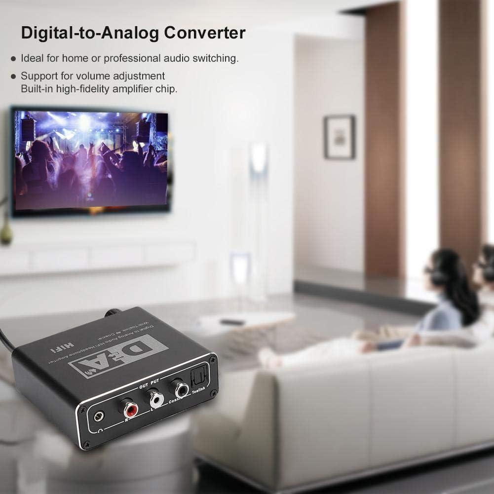 Convertisseur 32-192 KHz num/érique coaxial vers analogique//optique vers analogique pour convertisseur audio L//R 3,5 mm
