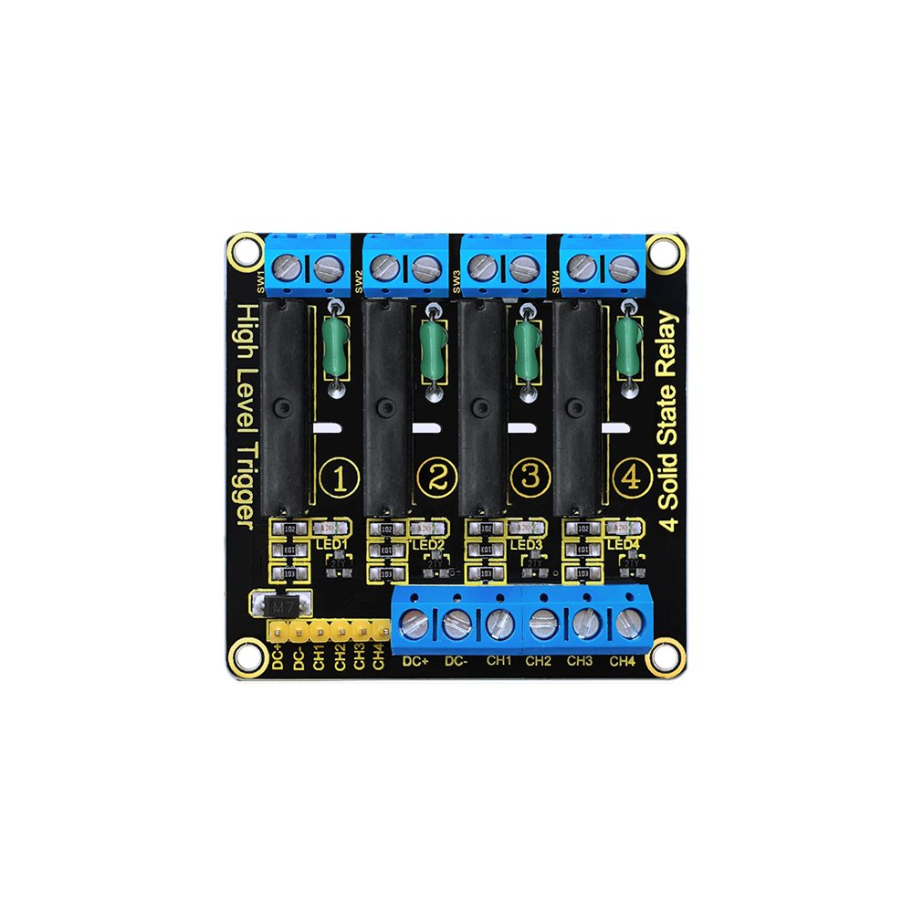 KEYESTUDIO Four-Channel Solid State Relay for Arduino PIC AVR DSP ARM Effective High-Level Relay AC240V/2A Output