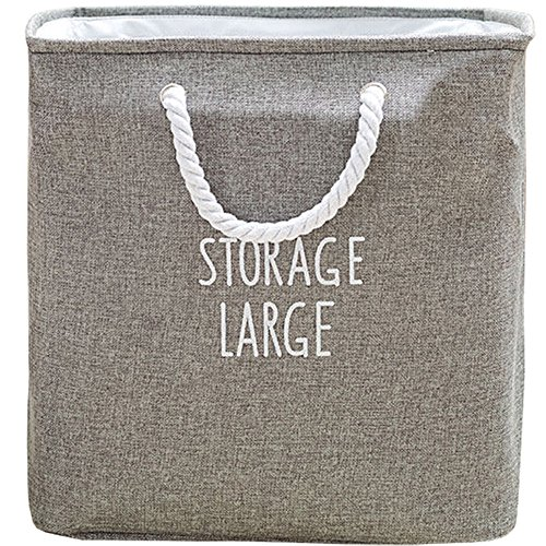 APSOONSELL Large Square Collapsible Laundry Hamper Basket - Grey - L