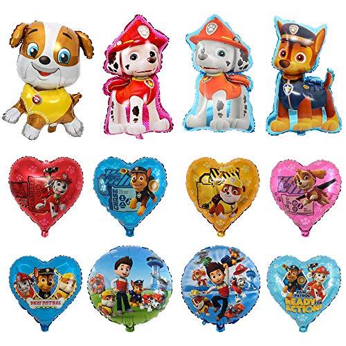 12 Pcs Paw Dog Patrol Helium Foil Balloons,Dog Theme Birthday Party Decoration for Kids