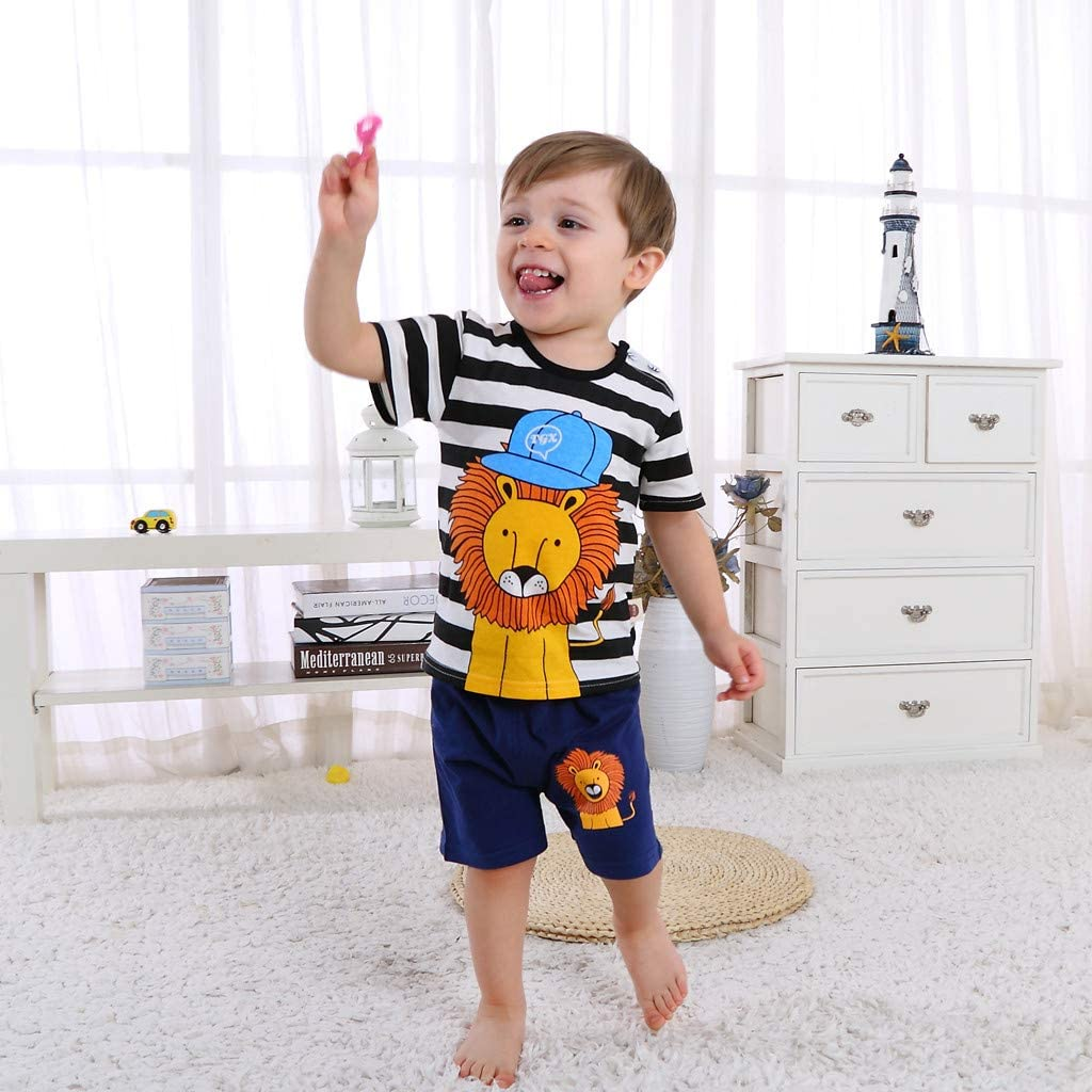 Infant Baby Boy Age 0-3Y Stripe Cartoon Lion Printed Short Sleeve Shirt Navy Shorts Summer Outfit Set