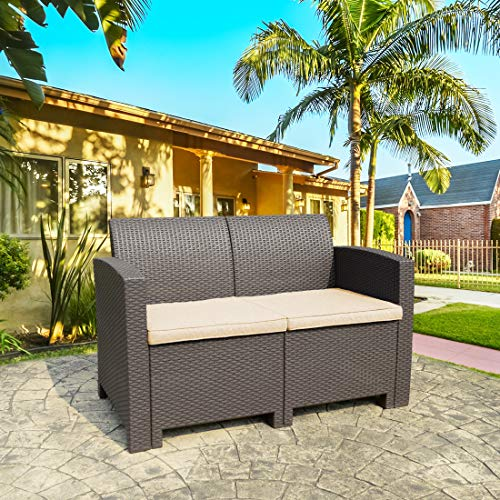 THPLUS Rattan Wicker Design Brown Loveseat, Outdoor Resin Plastic Loveseat, Patio Backyard All Weather Garden Furniture with Dark Blue Cushions