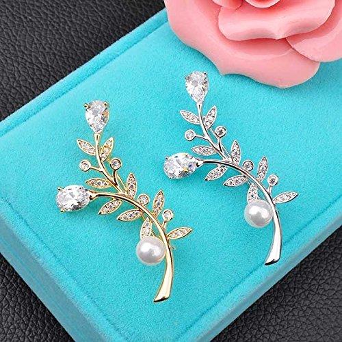 Micro Pave zircon shell beads foliage fashion collar pin brooch pin 14k gold-plated women girls