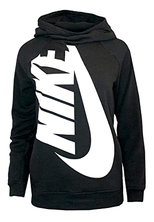 b58fc13d1232d6 Amazon.com  NIKE Youth Girl s Pullover Training Hoodie Black White ...