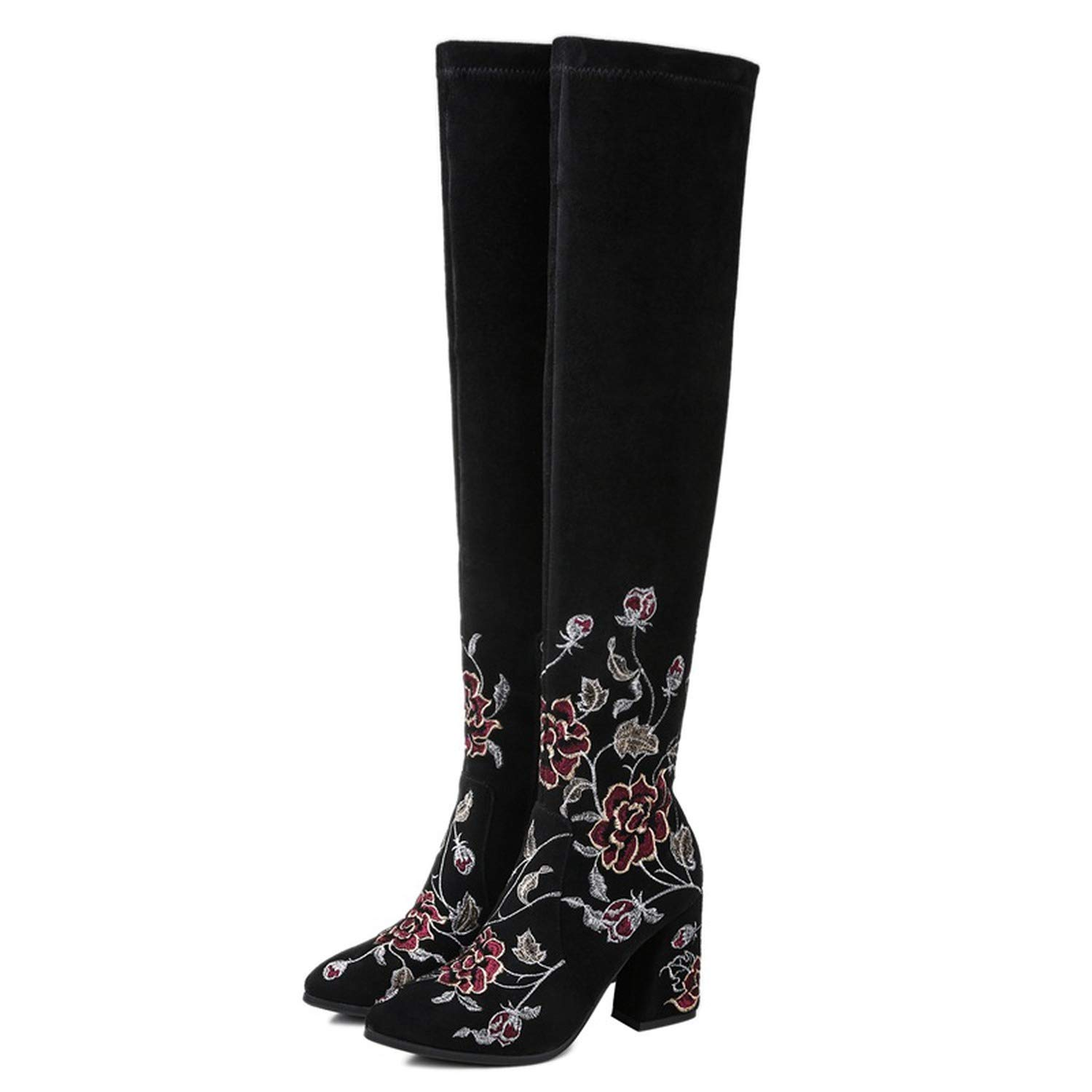 Good-Memories Large Size High Boots Round Toe Thick Heel Ladies Knee Women Shoes Side Zipper Cow Suede Upper Embroider Spring Boots,