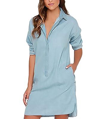 Damen Blusenkleid Longsleeve Revers Jeanskleid Kurz Casual Elegant