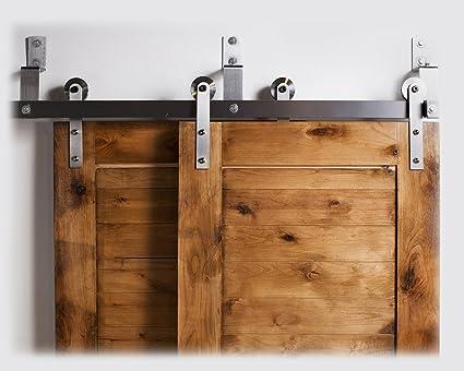 Amazon Bypass Barn Door Hardware System 7 Ft Raw Steel Finish