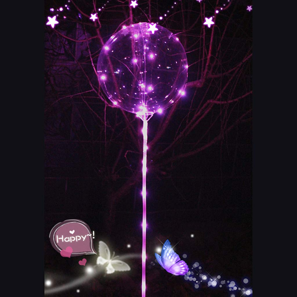 oldeagle Reusable Luminous Led Balloon, Clear Latex Round Bubble Creative Balloon for Birthday Wedding Party Decorative 21cm (Pink)