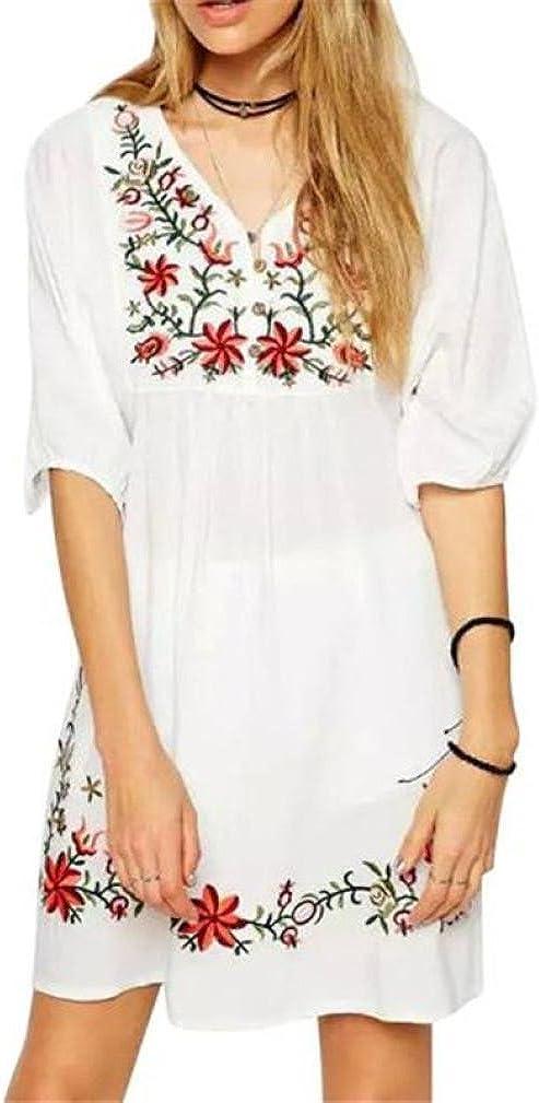 SHOBDW Vestido de Mujer Blusa Hippie Pessant de etnia Mexicana Bordada Gitana Mini Vestido