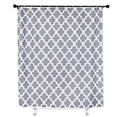 White and Grey Fabric Shower Curtain for Bathroom Decor Moroccan Trellis Gray Fabric Shower Curtain Mildew Resistant with 12 Hooks 71x71 inches