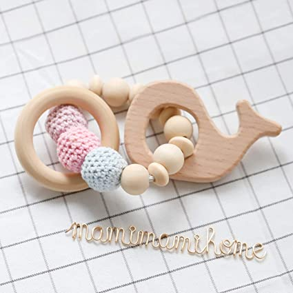 Good Mamimami Home Baby Wooden Teething Bunny Ear Eco-friendly Organic Wood Rattle Baby