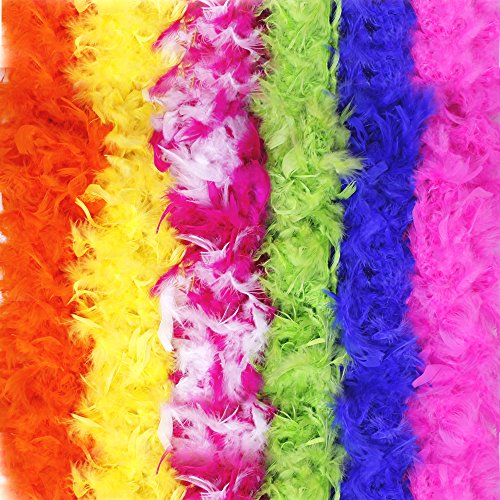 Fun central (BC712) 6 pc6ft Colorful Rainbow Feather Boas, Dress Up Boas-for Costume, Birthday Party Dress Up, Festivals, Beach/Water Party-Assorted 6 Color-60g