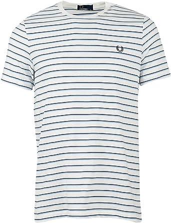 Fred Perry Hombres Camiseta de Rayas Finas m5573 129 Blanco M ...