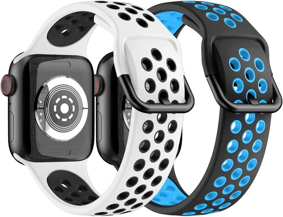 YSSNH Sports Silicone Band Compatible with Apple Watch Band 38mm 40mm 42mm 44mm Men Women Replacement for iWatch Series 5 4 3 2 1 Band, Lightweight Waterproof Band with Stainless Steel Buckle 2Pack