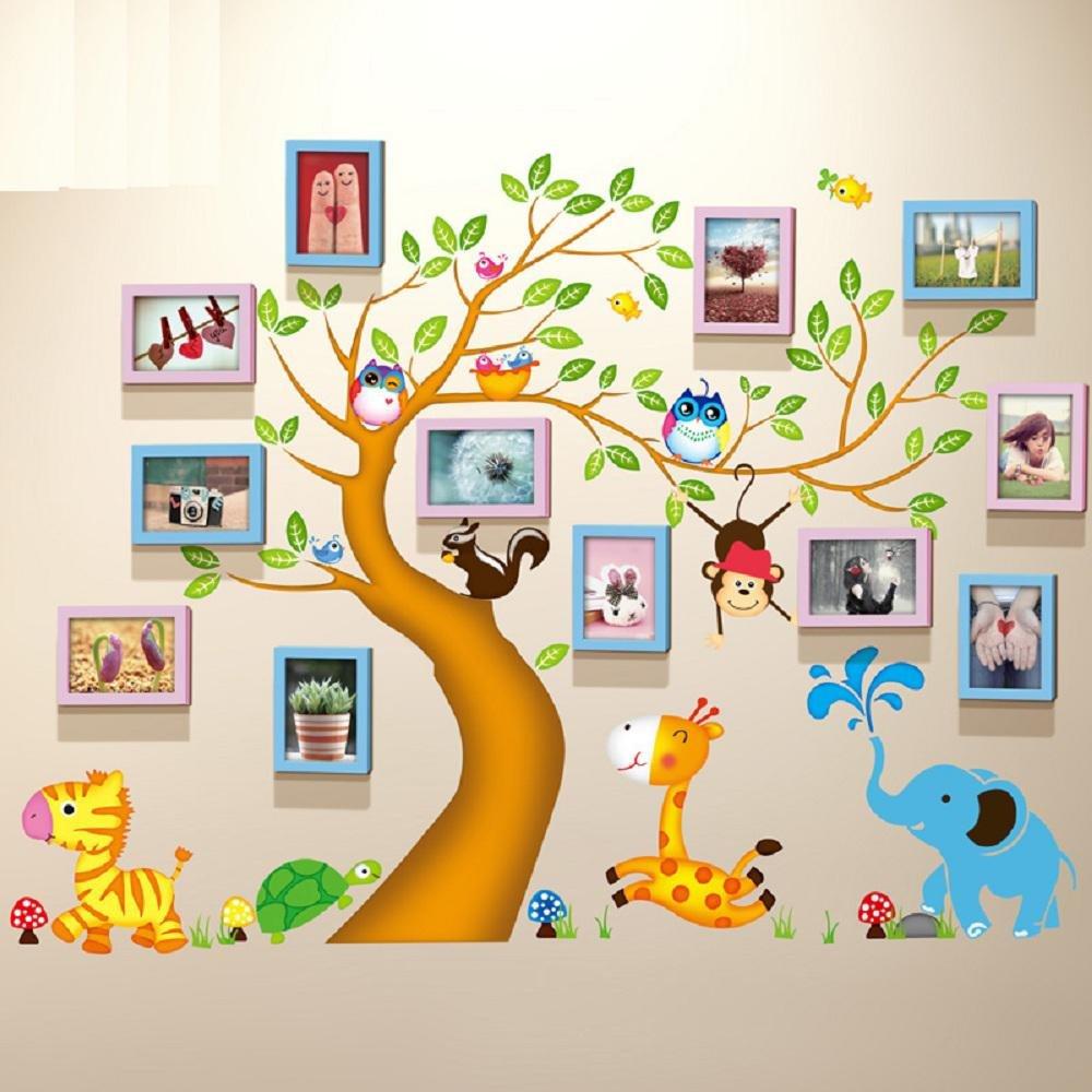 Korea wall sticker 12 boxes 7-inch photo frame wall solid wood quality kids room nursery decorating happy tree creative photo wall photo wall , 4-YS