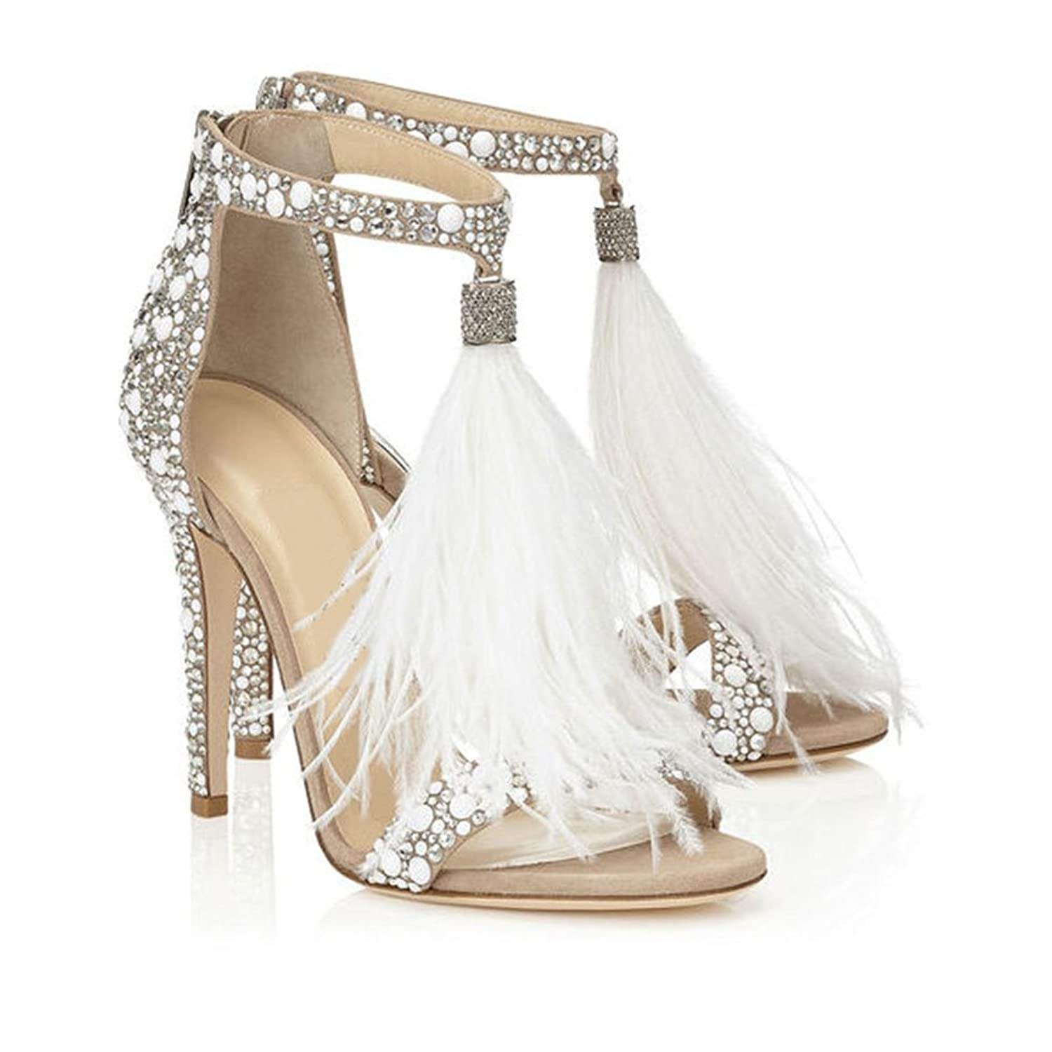 Azmodo Women's Wedding Dress Party & Evening Stiletto Heel Pearl Tassel White Color by Azmodo