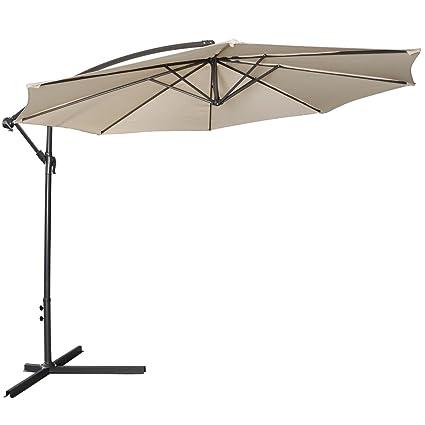 Giantex 10ft Outdoor Patio Sun Shade Umbrella Hanging Offset Crank W/ Corss Base  Garden Beige
