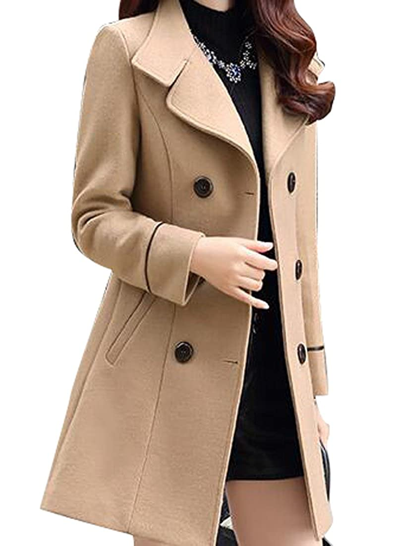 WAYA-Women Double-Breasted Solid Color Winter Long Wool Trench Pea Coat Overcoat