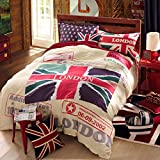 Ttmall Twin Full Size 100% Cotton Red White Lavender Green the Union Jack London Bedding Sets Comforter Sets (Full, 5pcs with Comforter)