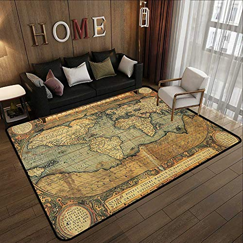Area Rugs,Wanderlust Decor Collection,16th Century Map of The World History Adventure Boundaries Cartography Civilization Image,Ol 78.7