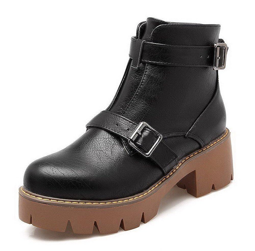AllhqFashion AllhqFashion AllhqFashion Women's Buckle Kitten-Heels PU Solid Low-Top Boots B01N4CCCRF Platform 92a2c6