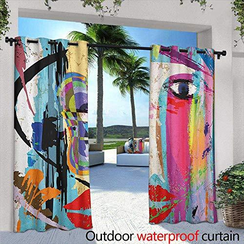 Art Sliding Door Curtain Contemporary Paint Strokes Splashes Face Mask Paint Kiss Graffiti Grunge Creative Theme Darkening Thermal Insulated Blackout 84