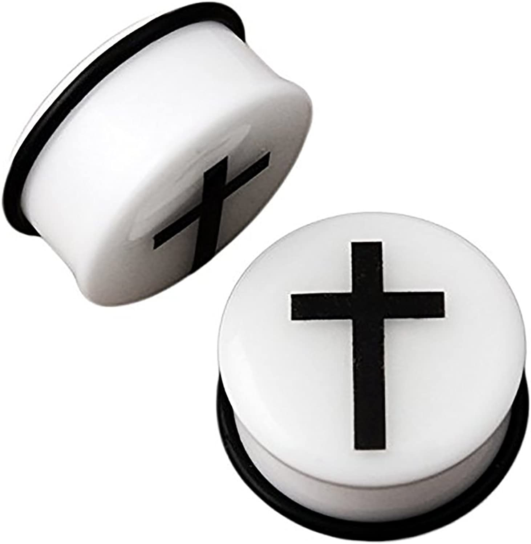 White /& Black Cross EAR PLUGS Glow In The Dark Single Flared GAUGES 2 PAIR