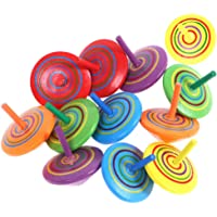 Minelife 12 Pieces Multicolor Handmade Wood Spinning Top Toys, Wooden Gyroscopes Toy Painted Spinning Tops for Boys and…