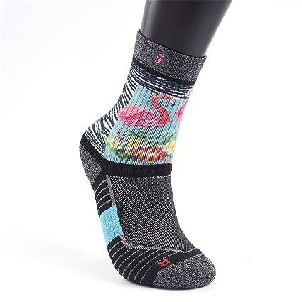 STAZSX Calcetines Calcetines de Aventura Calcetines de Tubo Femeninos Calcetines Estampados Calcetines Gruesos, Arco Iris