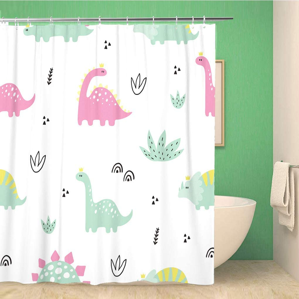 rouihot 72x72 Inches Shower Curtain Set with Hooks Cute Print with Pink Dinosaur for Baby Girl Cartoon Hand Drawn Witn Pastel Color Home Decor Waterproof Polyester Fabric Bathroom Curtains