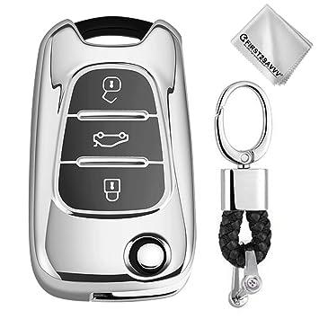 Plata Funda para Llave Smart Key para Coche Hyundai i20 i30 i35 iX20 iX35 Kia Rio Rondo Soul Sportage 3 Buttons Carcasa Protectora [Suave] de ...