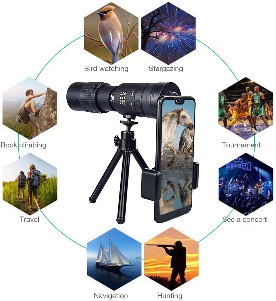 High Definition,Waterproof Fogproof Monocular for Smartphone for Bird Watching//Hunting//Camping//Travelling//Hiking with Tripod /&Photo Clip 10-30X30MM Super Telephoto Zoom Monocular Telescope