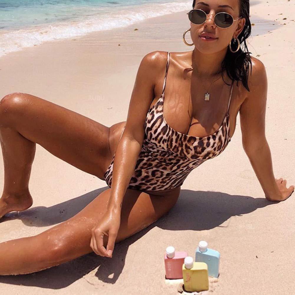 QAZWSX Leopard Print Swimsuit One Piece Swimwear Women Thong Bodysuit Halter Beachwear Bather Bathing Suit