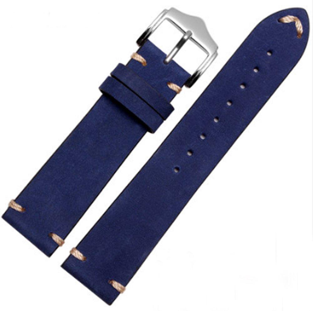 クラシックビンテージレザー時計バンドストラップFits for OmegaまたはRolex 5513 1675 6542 1680 1803 Submariner GMT 20mm ブルー B078N3VQCM 20mm ブルー ブルー 20mm