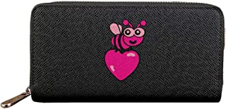 Love Bug with Heart Women Long Zipper Wallets PU Leather Lady Card Purse Travel Holder Coin