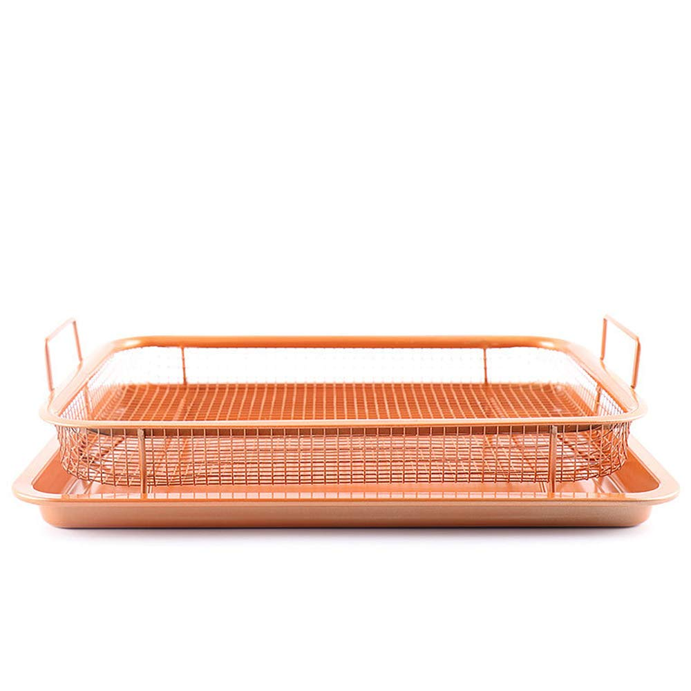 BUG-L Copper Fresh-Keeping Tray Non-Stick Baking Pan & Overhead Grid Crispy 2 Piece Set, Family Set Microwave Oven Baking Pan Drainer, Food Filter Cooling Rack Fried Food Basket