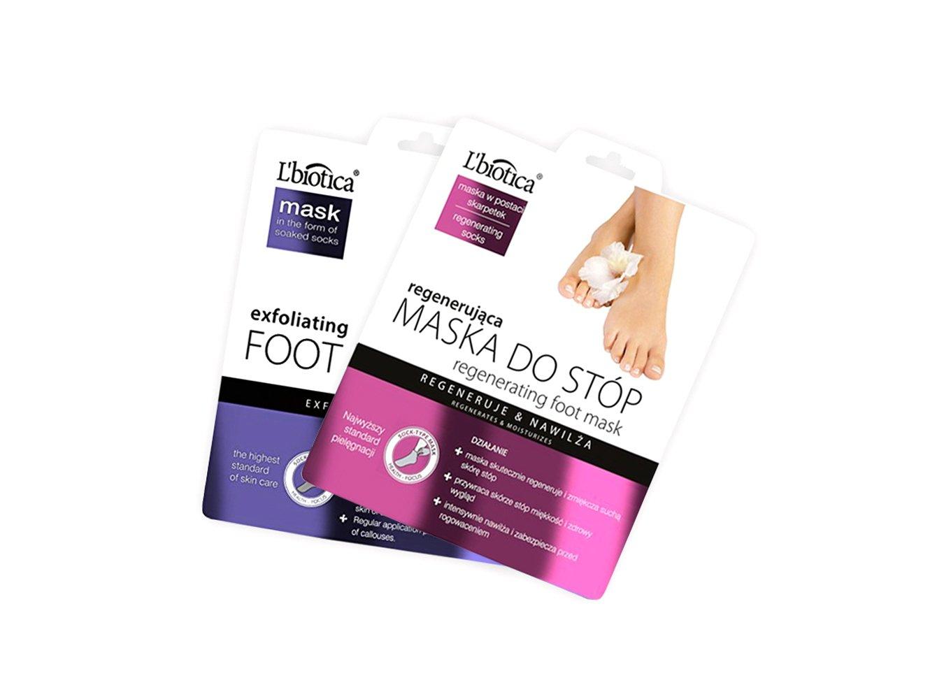 L'biotica Fußmaske, Peeling (1 x 40 ml), regenerierend (1 x 32 ml). L' biotica Fußmaske