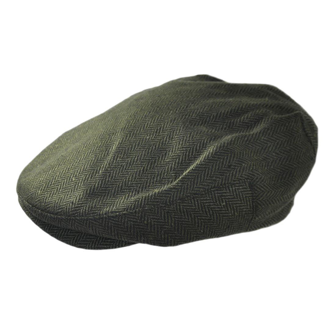 Irish Design Tweeds Herringbone Adjustable Flat Cap, Green colour Carrolls Irish Gifts