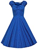 MUXXN Women's 1950s Style Vintage Swing Party Dress (L, Blue Dot)