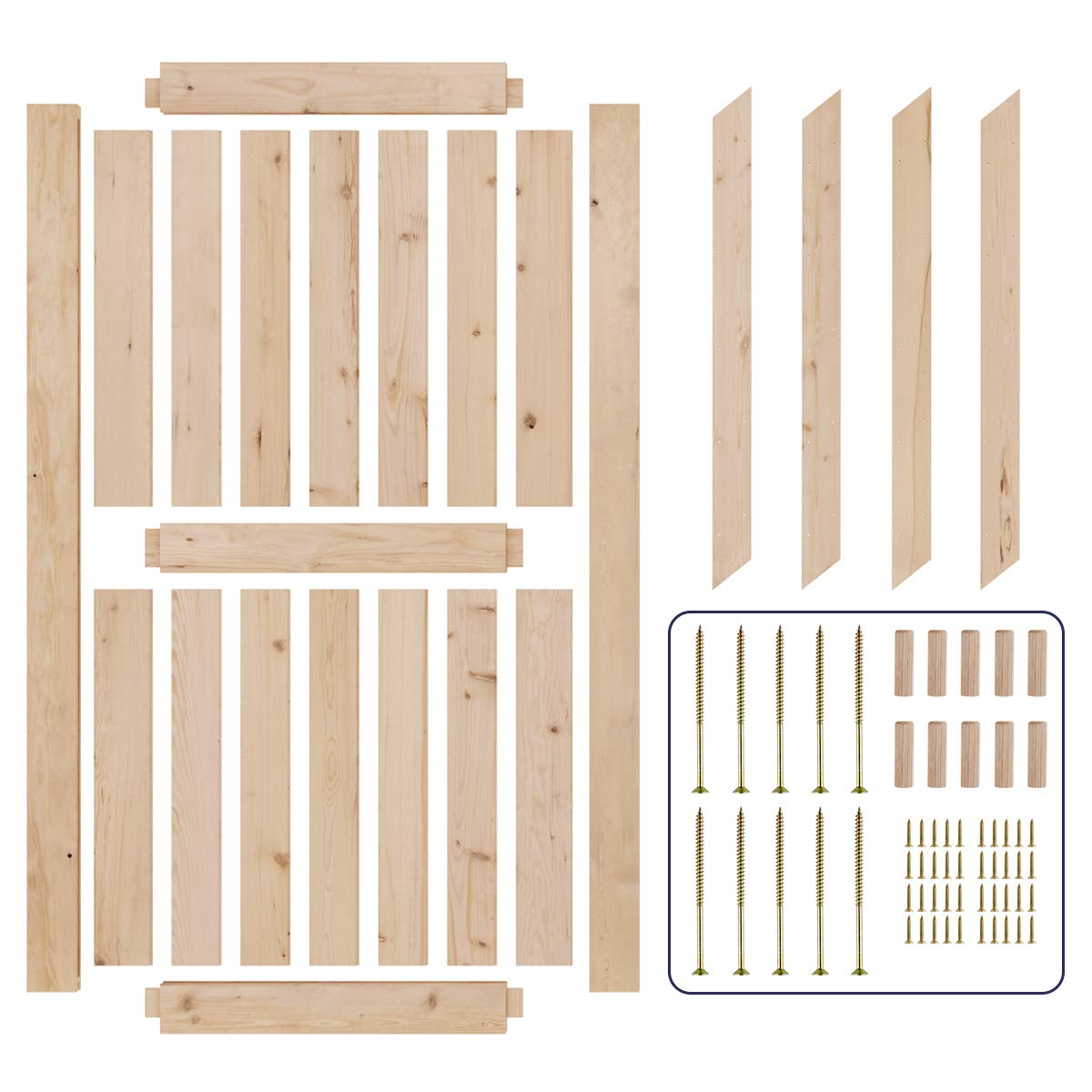 SMARTSTANDARD 42in x 84in Sliding Barn Door with 8ft Barn Door Hardware Kit /& Handle K-Frame DIY Unfinished Solid Cypress Wood Panelled Slab Pre-Drilled Ready to Assemble