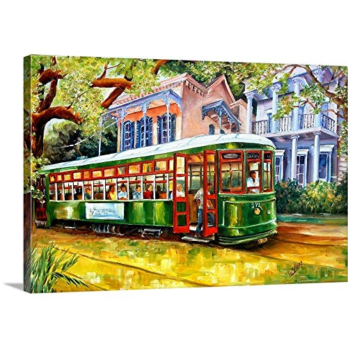 "Diane Millsap Premium Thick-Wrap Canvas Wall Art Print entitled Streetcar in the Garden District 24""x16"""