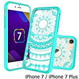 iPhone 7 Clear Case, AnoKe [Scratch Resistant] Colors Dream Catcher Mandala Flower Cute Grils Woman Ultra Slim Acrylic Hard Cover TPU Bumper Hybrid For Apple iPhone 7 TM CH Mint