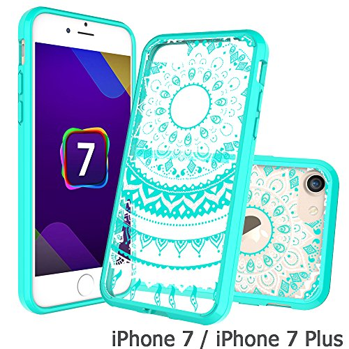 Price comparison product image Iphone 8 Case ,iPhone 7 Case Clear , AnoKe [Scratch Resistant] Colors Dream Catcher Mandala Flower Cute Grils Woman Ultra Slim Acrylic Hard Cover TPU Bumper Hybrid For Apple iPhone 8 7 TM CH Mint