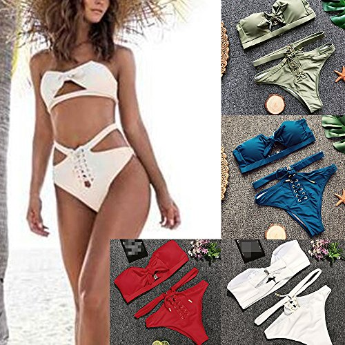 Estyle Fashion Damen Sommer Badeanzug Swimmsuit Badekostüm Bikini Schwimmanzug Strand Urlaub Beachwear Einfarbig Bandeau Slips Set Size Blau A 09aM5vi