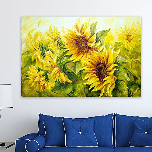 wall26 Canvas Prints Wall Art - Sunflowers in Oil Painting Style | Modern Wall Decor/Home Decoration Stretched Gallery Canvas Wrap Giclee Print & Ready to Hang - 24