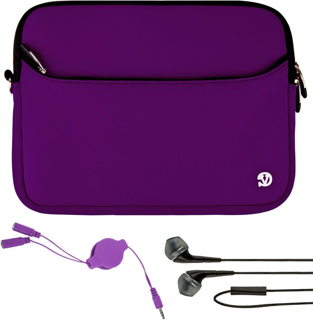 "VanGoddy Protective Purple Neoprene Padded Sleeve for HP ElitePad 1000 G2, Pavilion x2 10.1"" Tablet's + Audio Splitter and Earbud's"