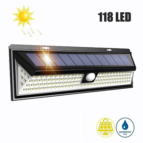 LTPAG Lamparas Solares LED Exterior, 118 LED Foco LED Solar con Sensor de Movimiento, 3 Modos Luces Solares Jardin Exterior IP65 Impermeable Farolas ...