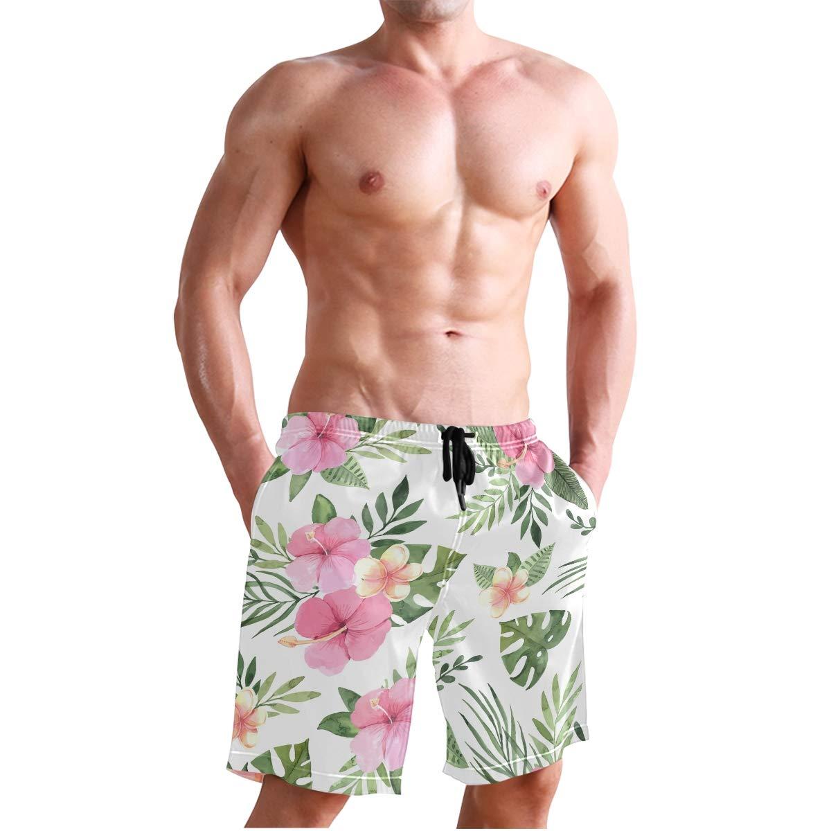Josid Mens Summer Swim Trunks Quick Dry Beach Board Shorts Mesh Lining,Palm Tree Leaves