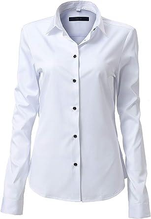 Camisa Mujer Bambú Fibra, Manga Larga Slim Fit, Elástica y Formal: Amazon.es: Ropa y accesorios